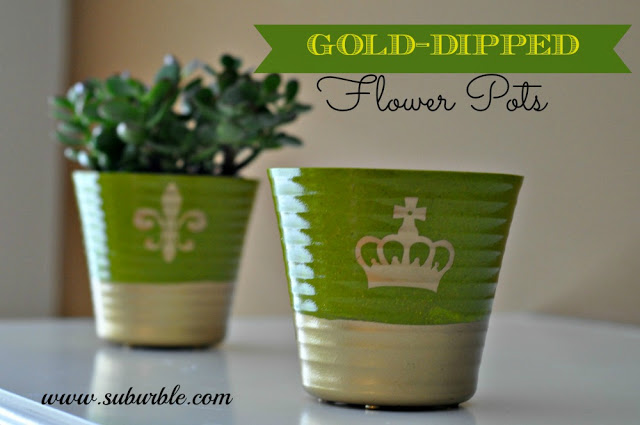 Disco-Fabulous Gold Dipped Flower Pots