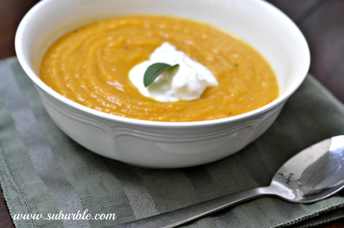 Roasted Butternut Soup with Minted Sour Cream - Suburble