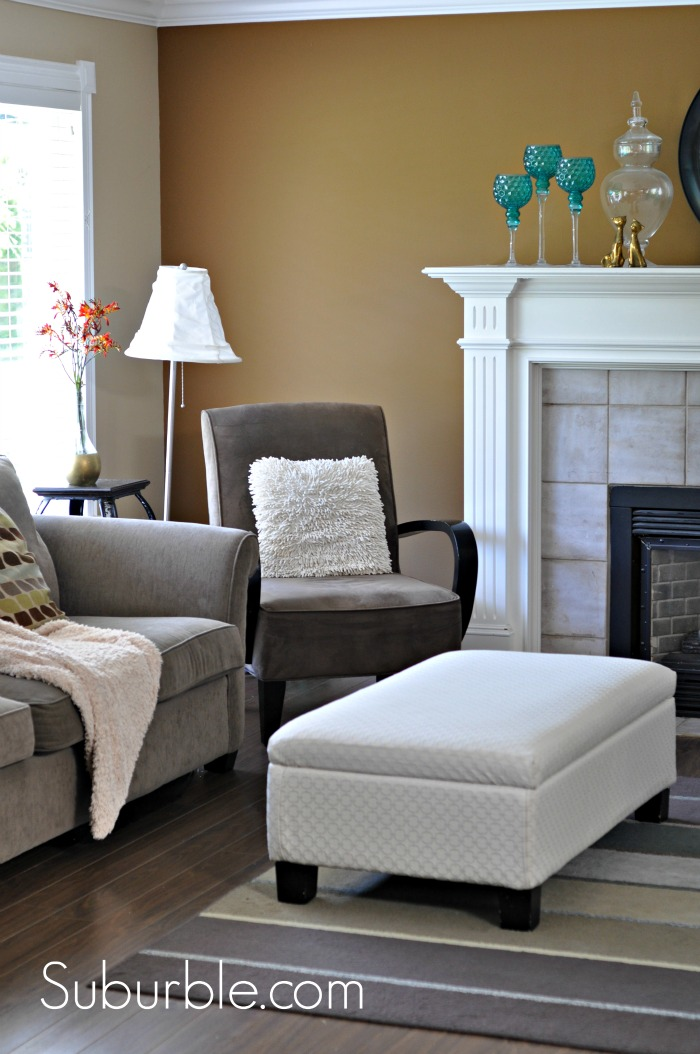 The No Sew Way To Recover An Ottoman Suburble