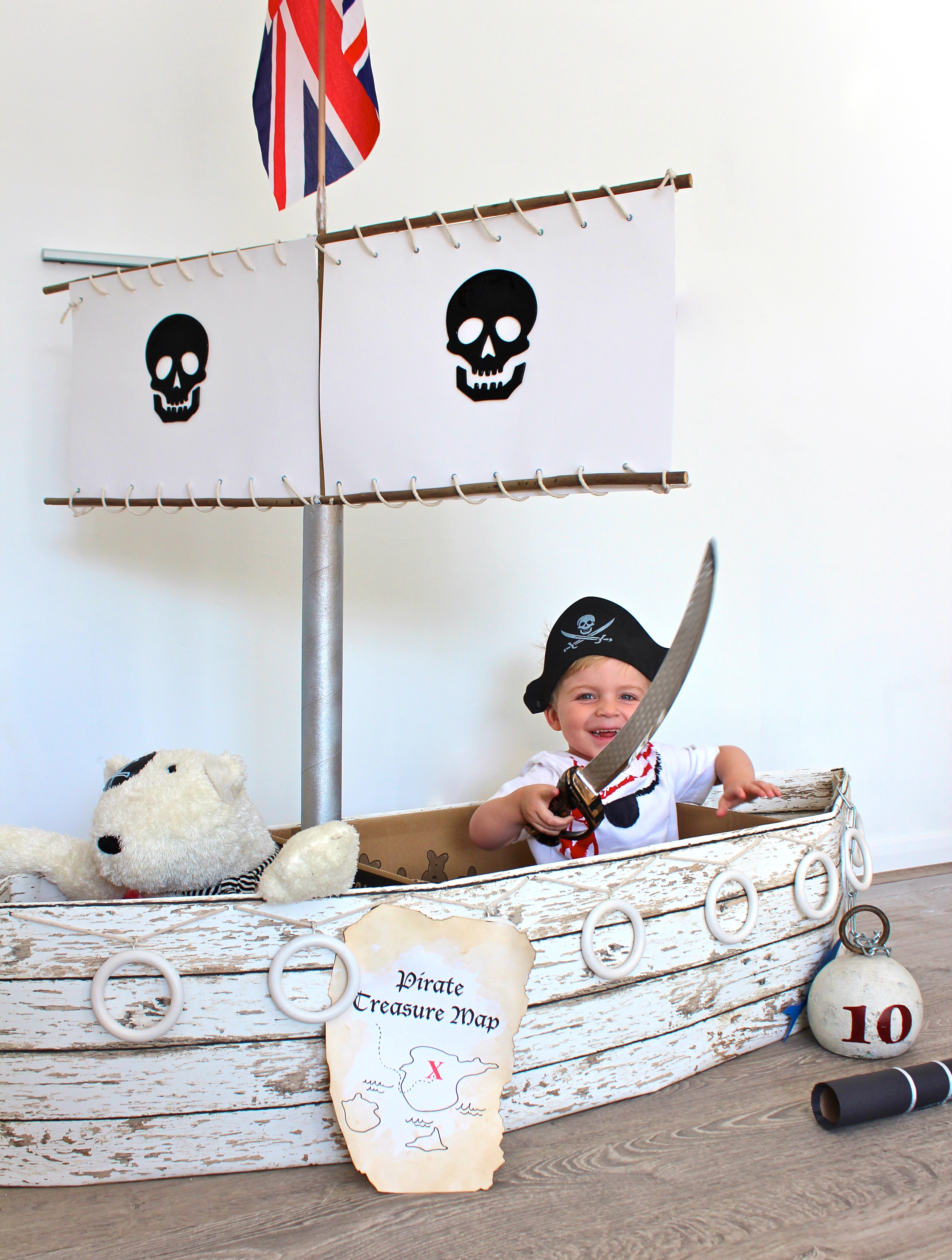 30 incredible pirate party ideas suburble for Cardboard pirate ship template