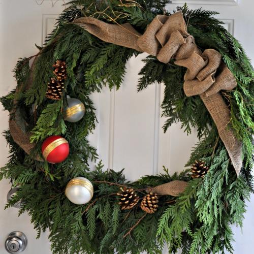 DIY Rustic Cedar Wreath - sq - Suburble.com