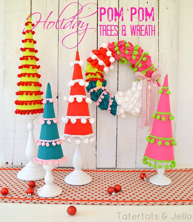 holiday-pom-pom-trees-and-wreath-at-tatertots-and-jello
