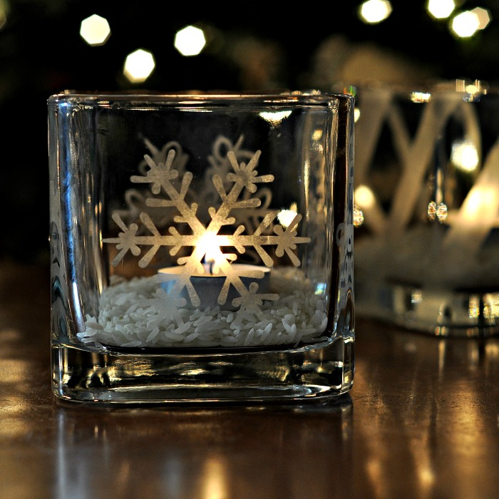 Etched Glass Candle Holders - sq