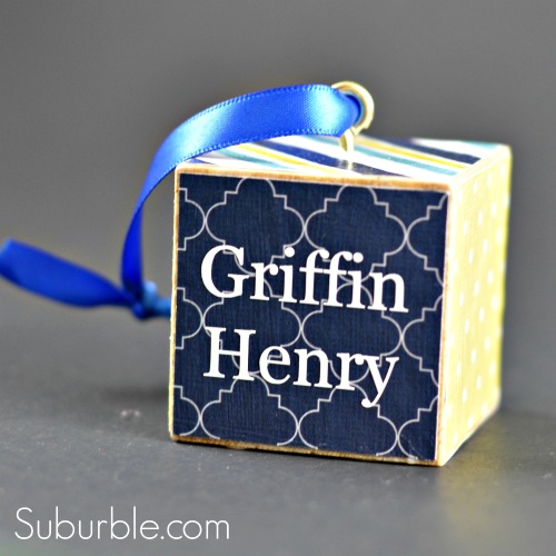 Personalized Block Ornament - 3 - Suburble