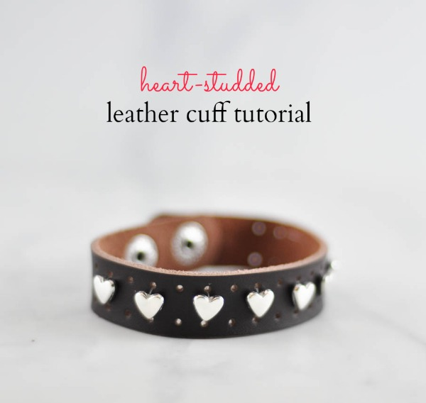 Heart studded leather cuff title  - Suburble.com (1 of 1)
