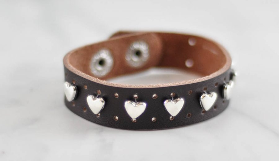 Easy Heart-Studded Leather Cuff