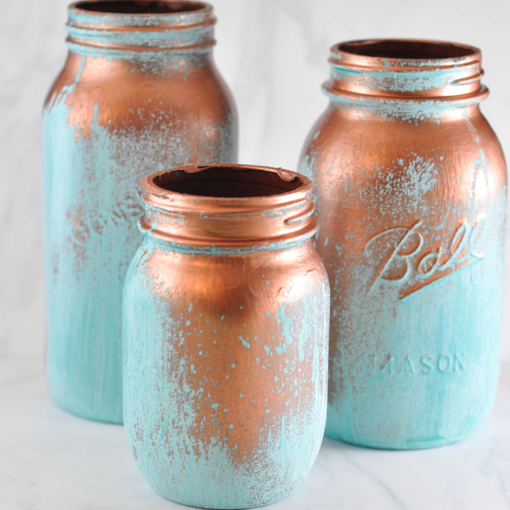 Spray Painted Mason Jars With Candles