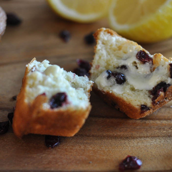 Lemon Cranberry Muffins via Suburble
