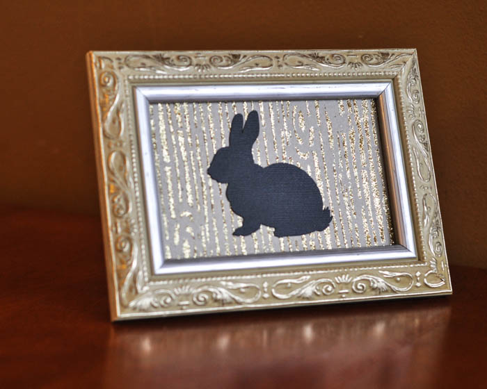 Mod Podge Rocks Wood Grain Stencil framed with rabbit silhouette - Suburble.com (1 of 1)