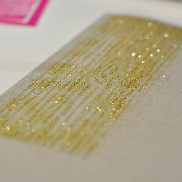 Mod Podge Rocks Wood Grain Stencil with gold glitter - Suburble.com (1 of 1)