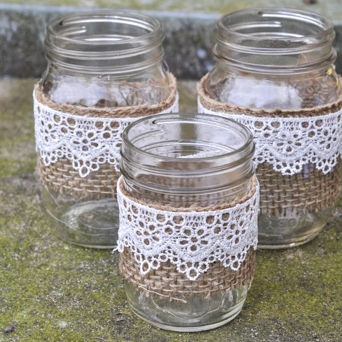 Burlap and Lace Mason Jar Vase - Suburble.com (1 of 1)