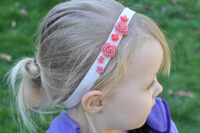 Headband Elastic Ribbon - Pink Rosette on White - Suburble.com (1 of 1)