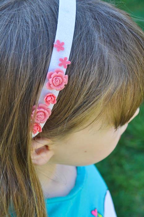 Headband Elastic Ribbon - Pink Rosettes Headband - Suburble.com (1 of 1)