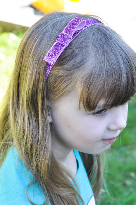 Headband Elastic Ribbon - Purple Bow Headband - Suburble.com (1 of 1)