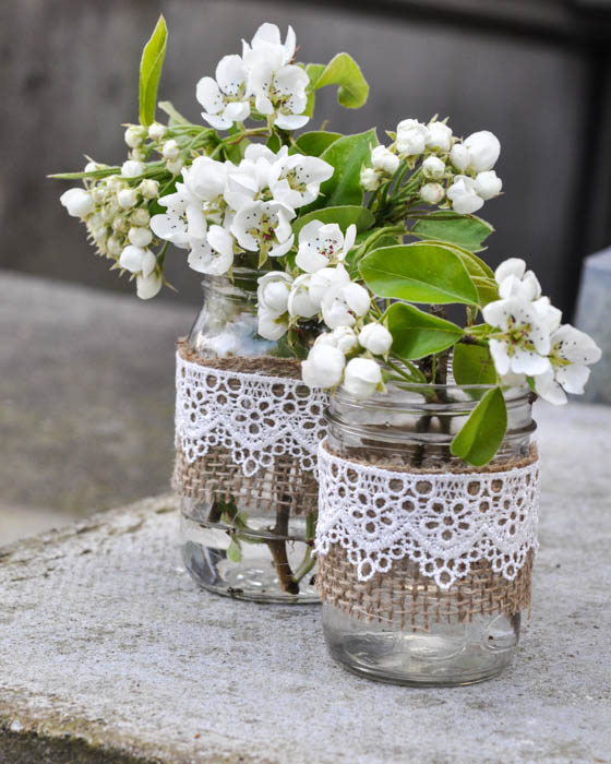 Rustic Mason Jar Vases - Burlap and Lace - Suburble.com (1 of 1)