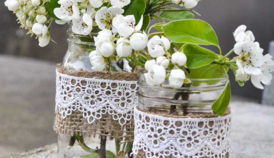 Rustic Mason Jar Vases