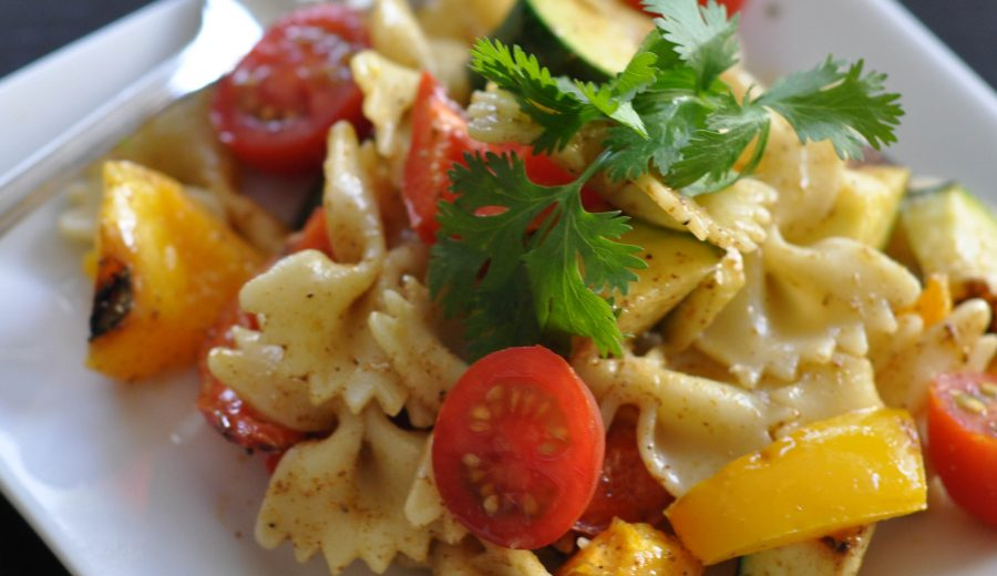 Grilled Vegetable Pasta Salad with Sweet Curried Dressing