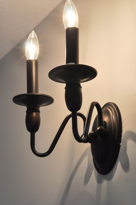 Hallway Sconces Lit Up Suburble 1 These Candlestick Wall Lights Were In The