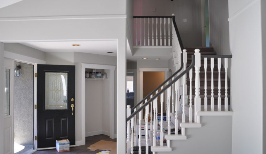A Progress Post: Our White Railings with a Dark Handrail