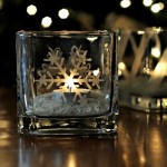 Snowflake-Etched Candleholders