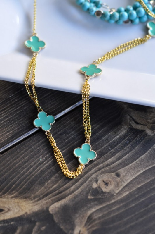 Gold Clover Necklace- Suburble.com-1