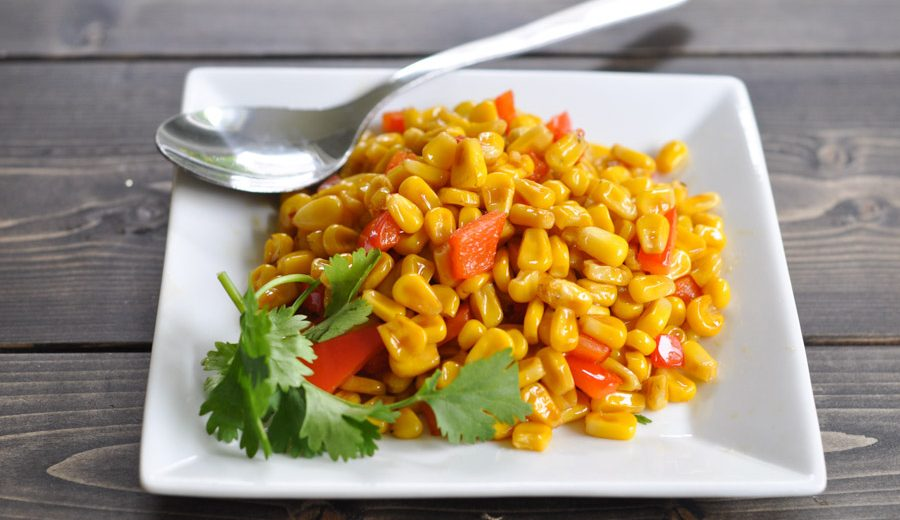 Stir Fried Corn with Chilli Coconut Sauce