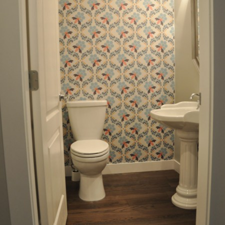 Wallpapered Powder Room Completed -Suburble.com-1