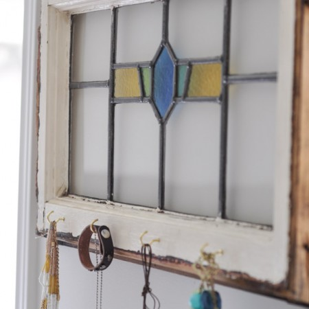 Antique Stained Glass Jewelry Organizer and Wall Art-11