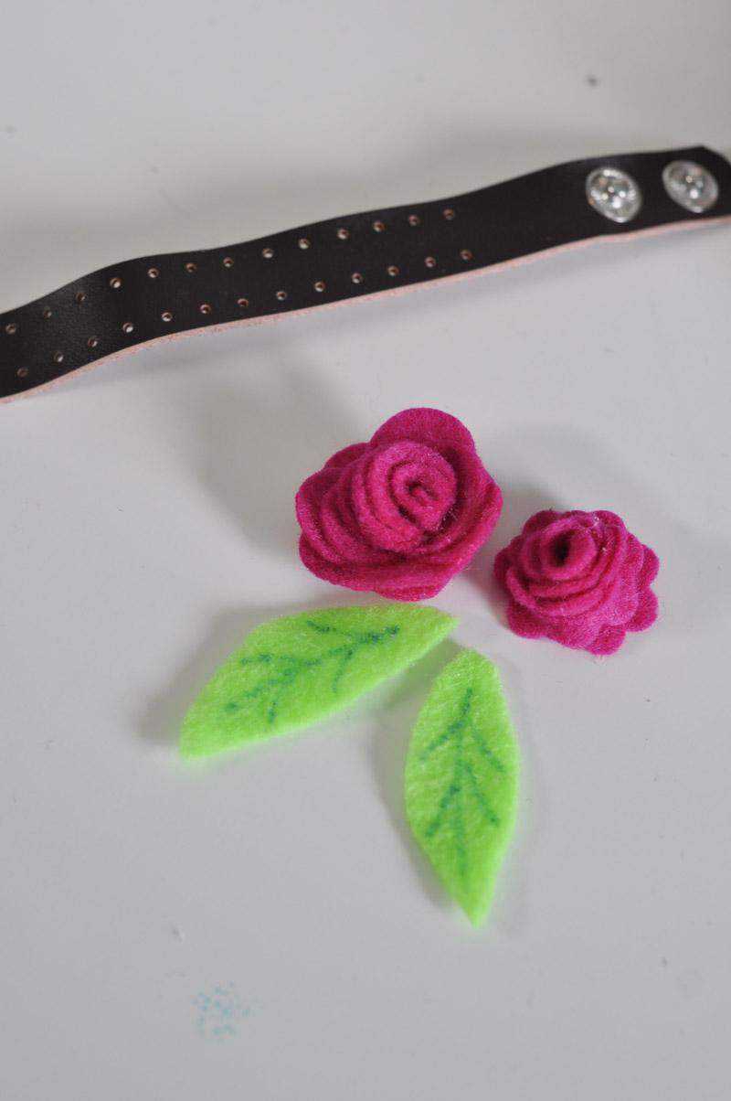 Felt Rose Corsage Cuff-4