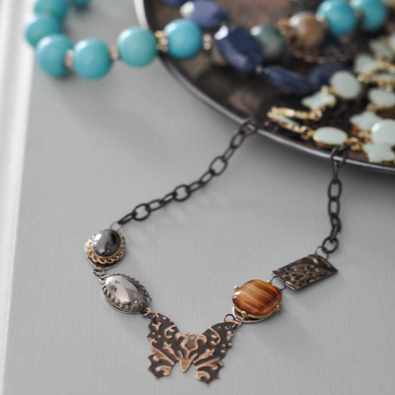Vintage Necklace with Butterfly Vintaj Pendant-14