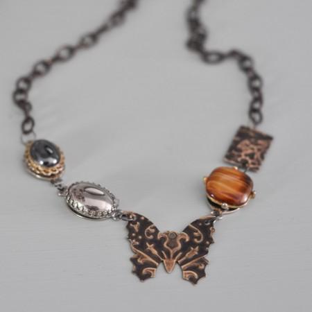 Vintage Necklace with Butterfly Vintaj Pendant-9