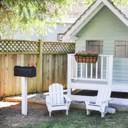 The Playhouse Project - Using the paint sprayer t o save time -7
