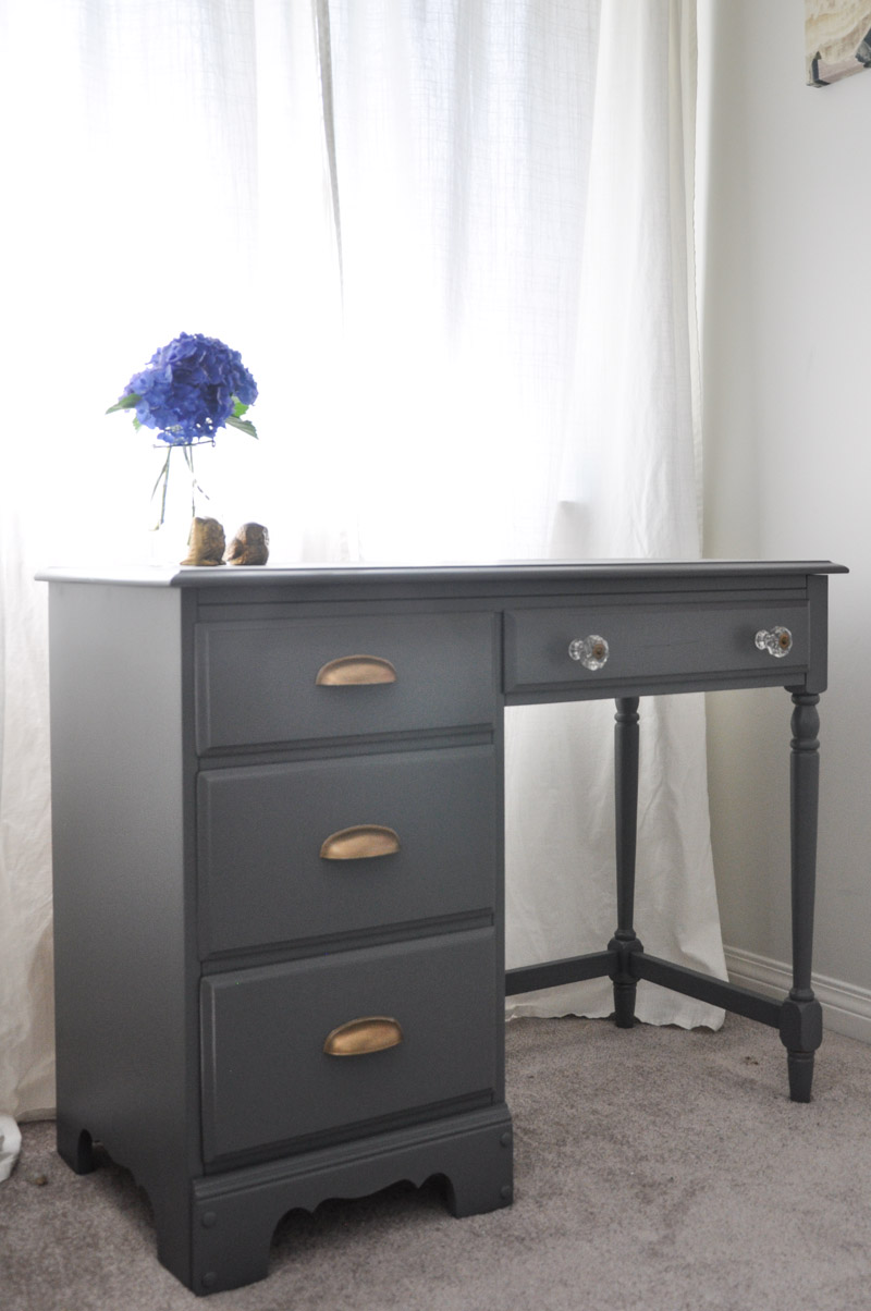 Desk Makeover - Grey and Gold Accents - With the Homeright Sprayer-2-2