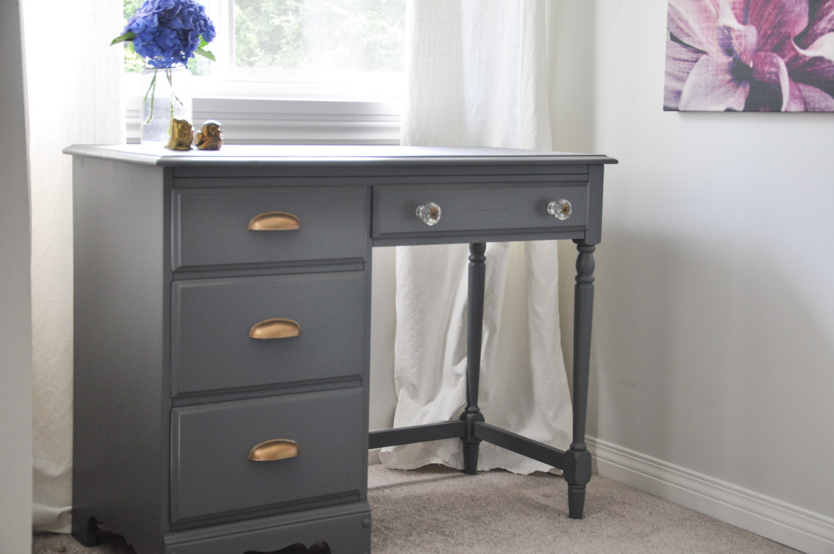 Desk Makeover - Grey and Gold Accents - With the Homeright Sprayer-4-2