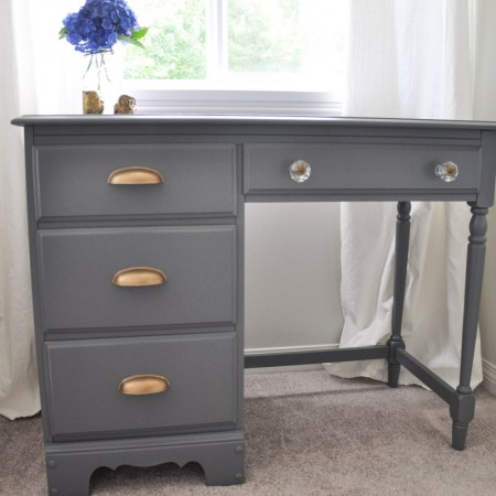 Desk Makeover - Grey and Gold Accents - With the Homeright Sprayer-6-2