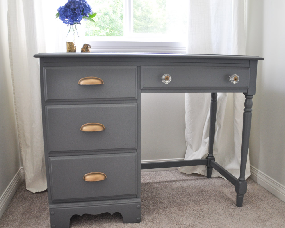 Desk Makeover Grey And Gold Accents With The Homeright Sprayer 6 2