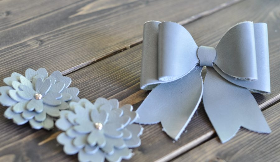 Leather Hair Accessories: Sea Glass Flowers and Bow Barrettes