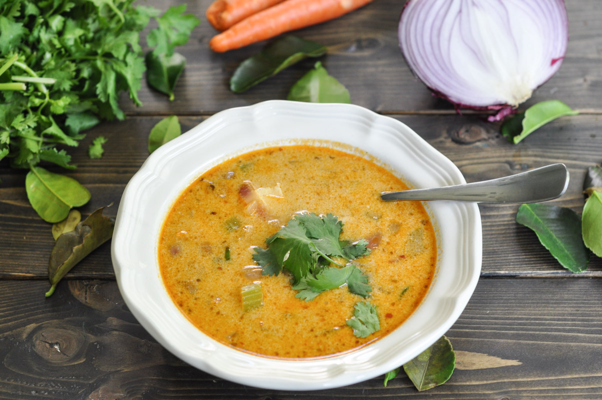 Thai Red Curry Soup with Chicken - Suburble