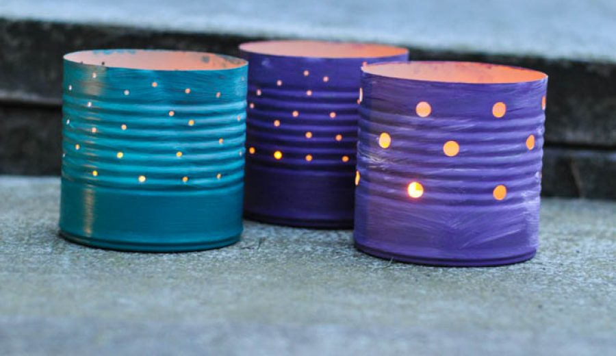 Recycling Bin Chic: Tin Can Luminaries