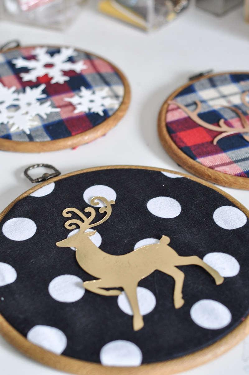 Deer Embroidery Hoop Christmas Wall Art With Sizzix-8