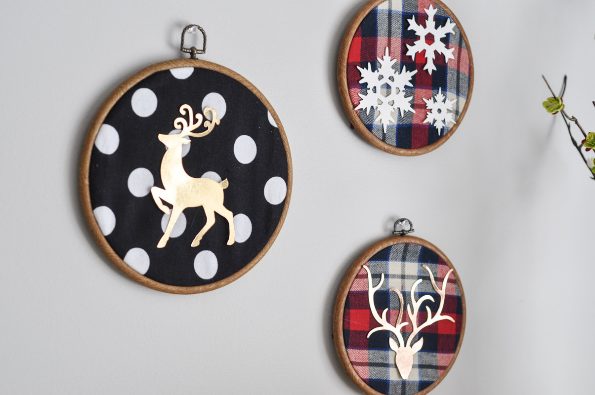 Deer Embroidery Hoop Christmas Wall Art With Sizzix-9