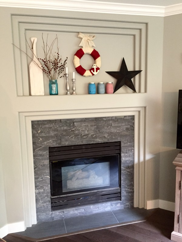 Tiled Fireplace Family Room