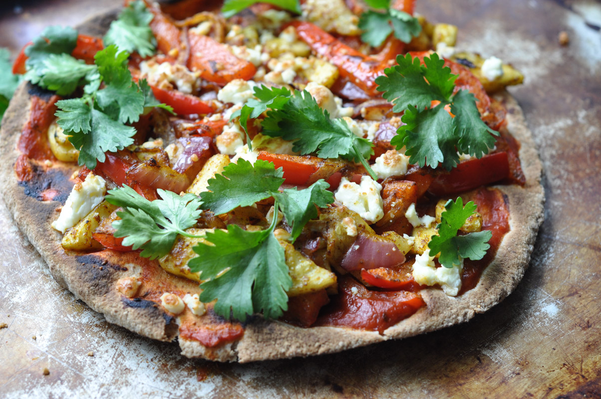 Curried Vegetarian Flatbread Pizza-3