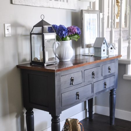 Hallway Table Painted in Fusion Mineral Paint in Ash-2