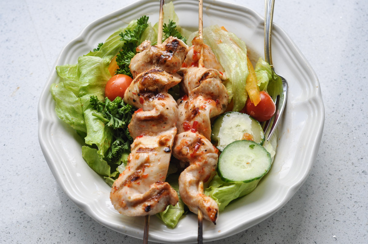 Sweet Thai Chilli Salad Dressing and Chicken Kabobs-6