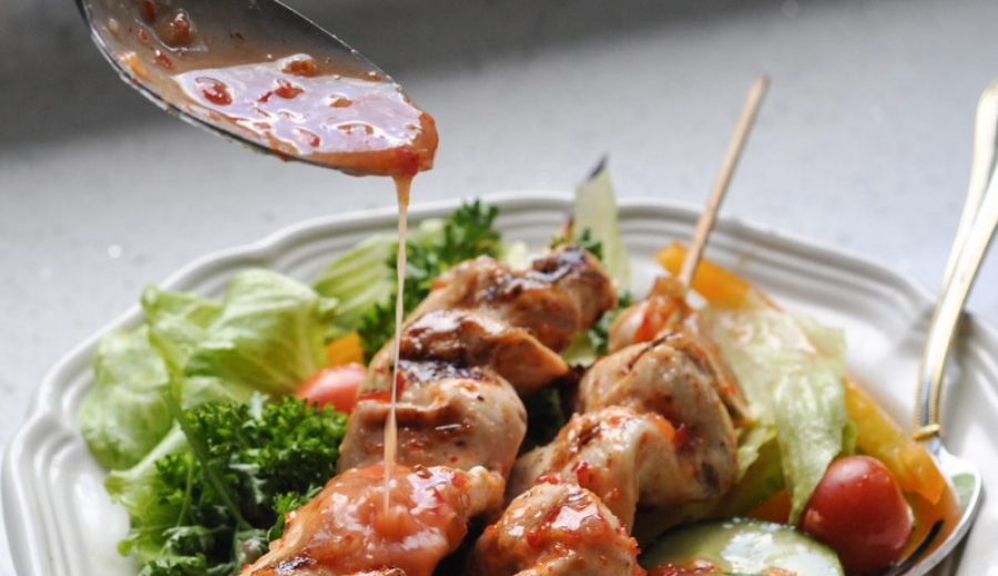 Sweet Thai Chilli Salad Dressing and Chicken Kabobs
