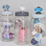 Mason Jar Storage with Decorative Knobs