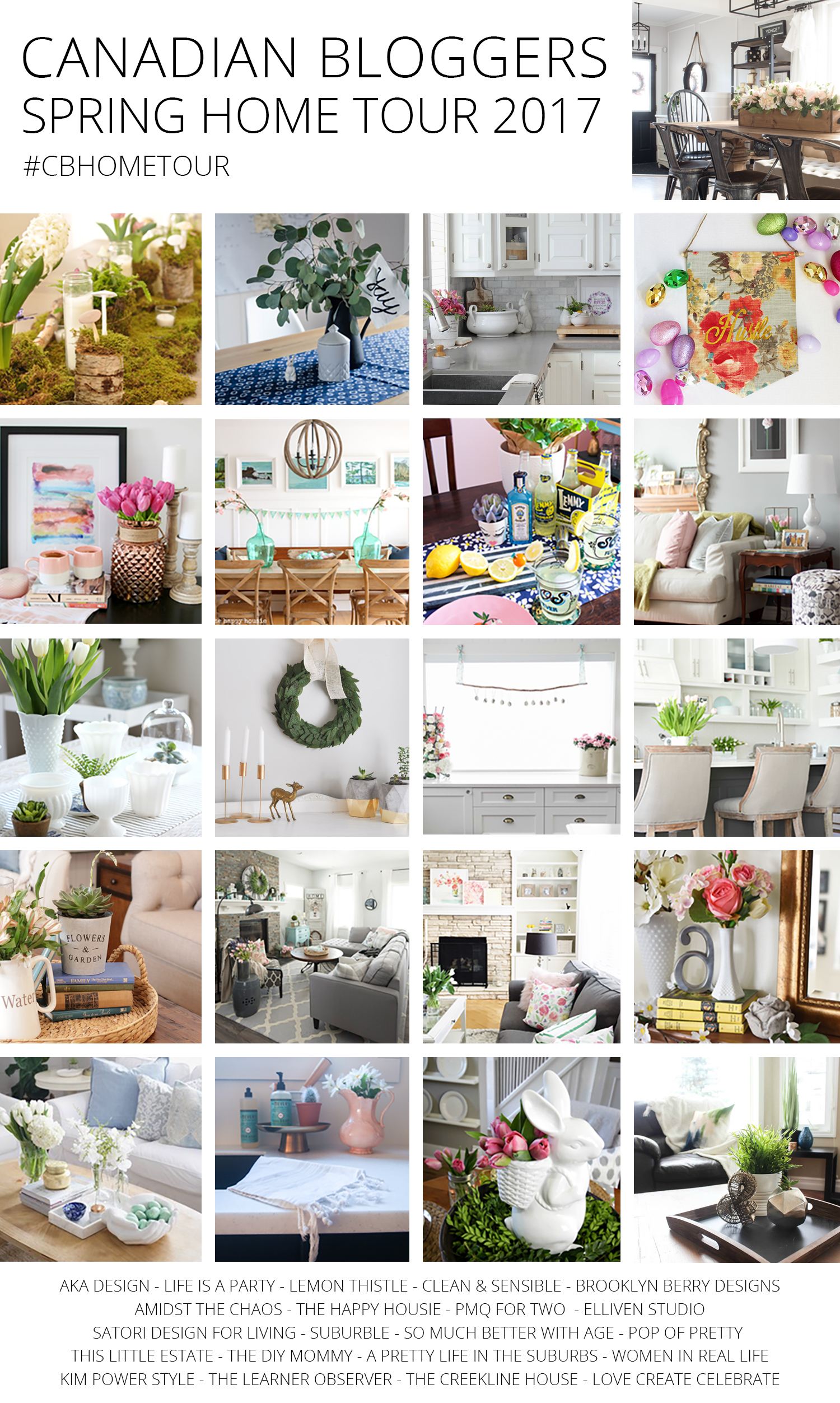 Canadian Bloggers Spring Home Tour Collage 2017