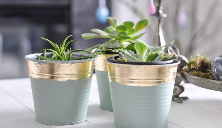 Gold Leaf Flower Pots