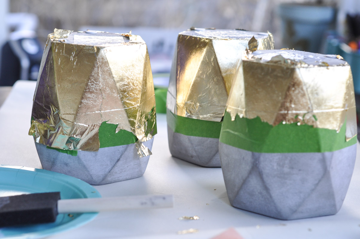 Gold Dipped Geometric Planters-5